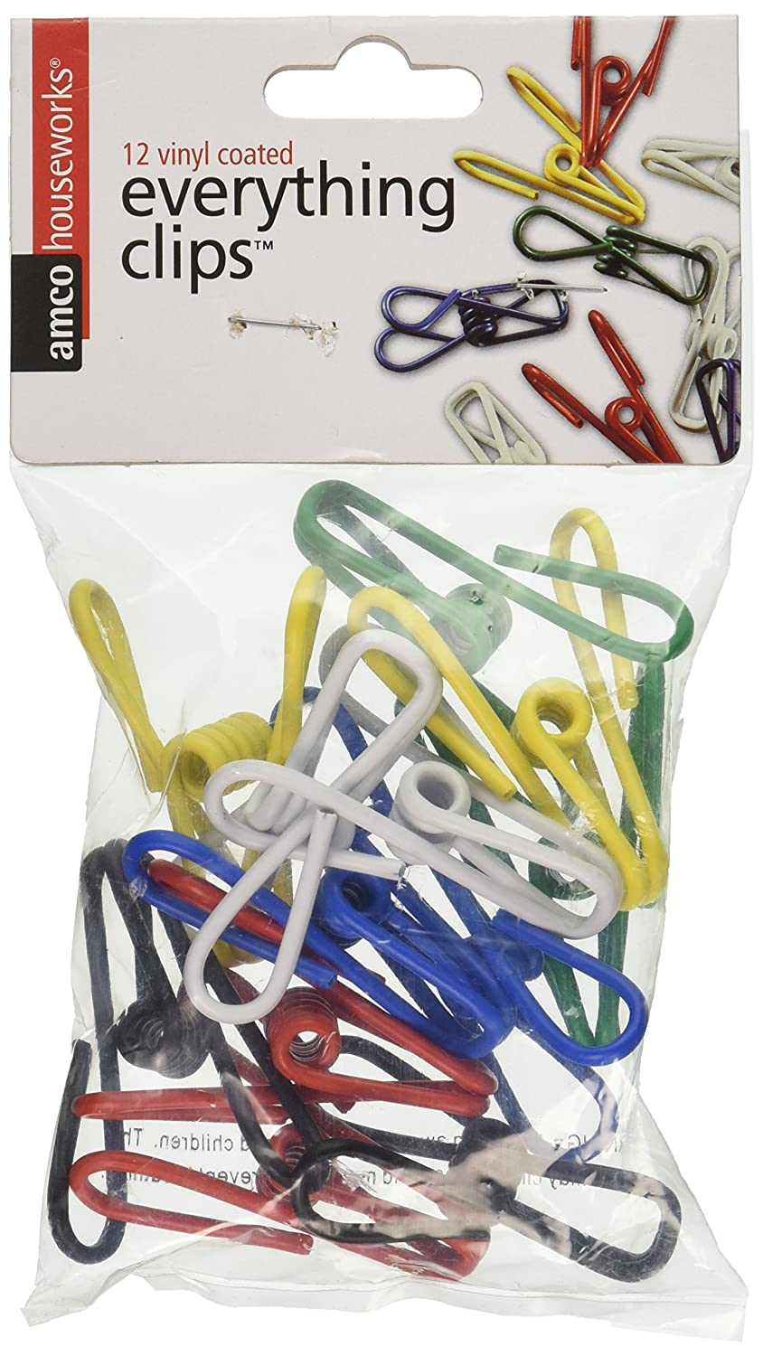 Amco Houseworks Multi-purpose Colorful Metal Clips Holders, 12 Pack, Multicolored (Discontinued by Manufacturer)