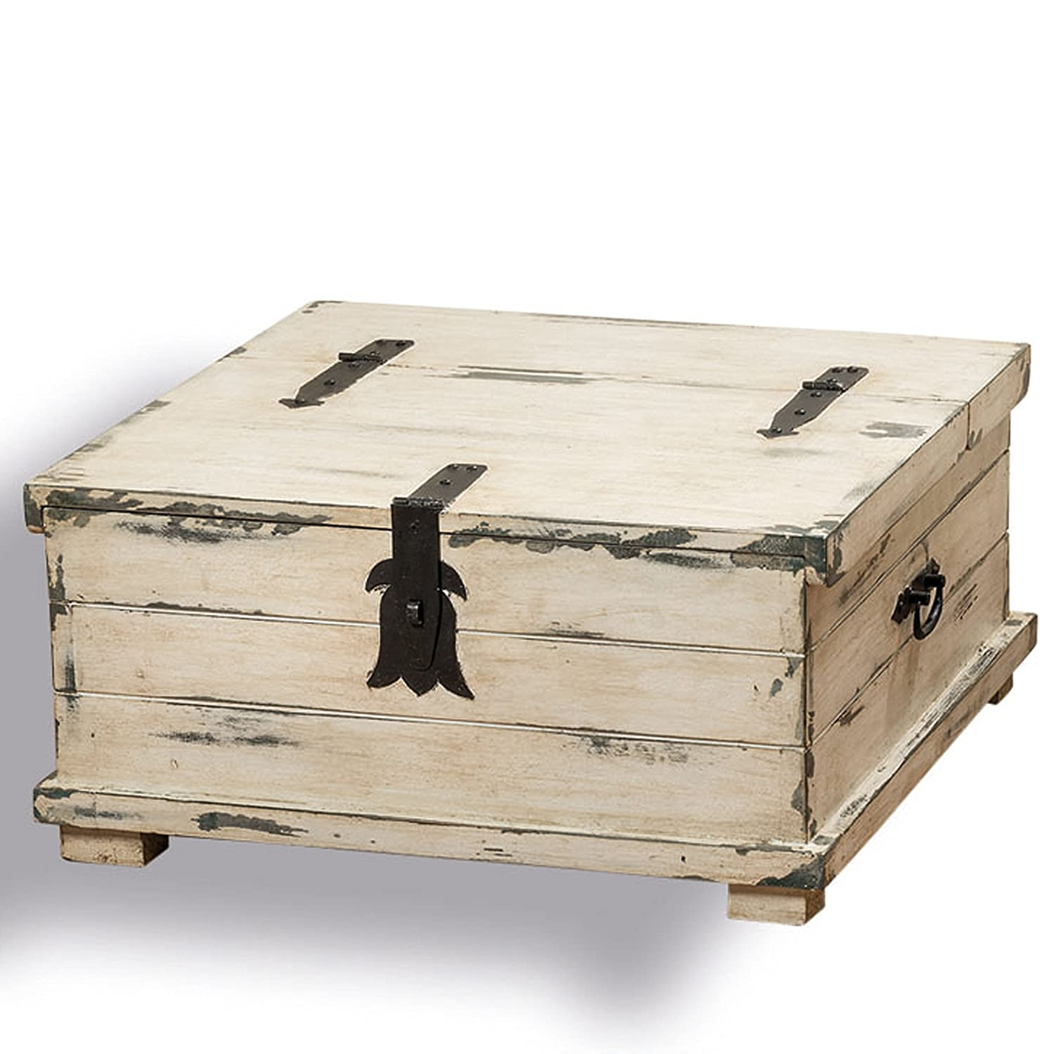 Amazon the cape cod steamer trunk coffee table and storage amazon the cape cod steamer trunk coffee table and storage box approx 2ft square rustic creamy white pale blue vintage gray distressed finish geotapseo Image collections