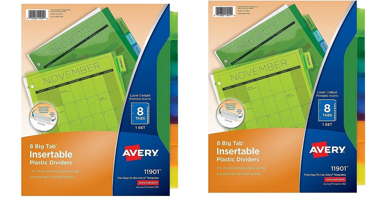amazoncom avery big tab insertable plastic dividers 8 tabs imqobb 2 pk 71901 home kitchen