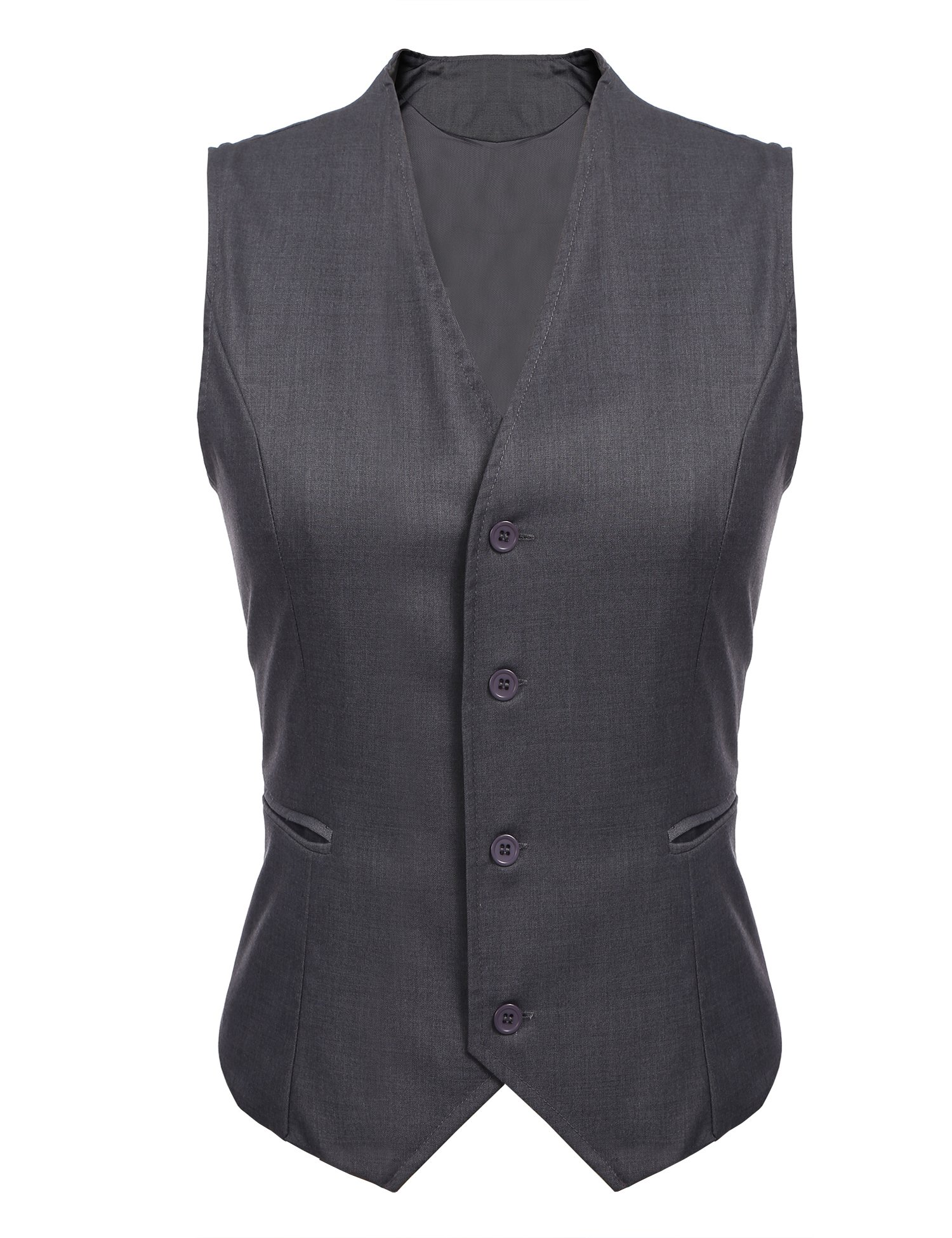 Gumod Women's Waistcoat Fully Lined 4 Button V-Neck Economy Dressy Suit Formal Business Vest,Grey,Large