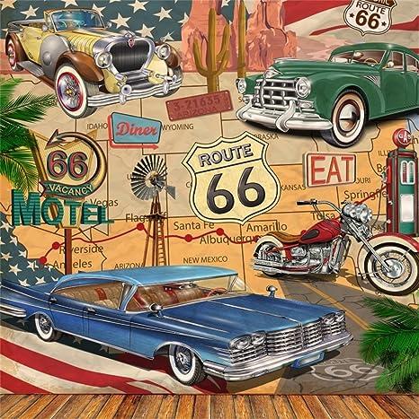 Amazon Com Aofoto 7x7ft Vintage Car Route 66 Backdrop Retro Motel