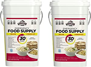 Augason Farms 5-20091 Deluxe Emergency 30-Day Food Supply (1 Person), 200 Servings, 36,600 Calories, Net Weight 20 lbs. 7 oz. (Pack of 2)