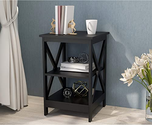 Henf Black Side Table Sofa Table 2-Tire End Table Modern Couch Side Coffee Table with Storage Shelf Night Stand Table for Living Room Bedroom Bedside Table