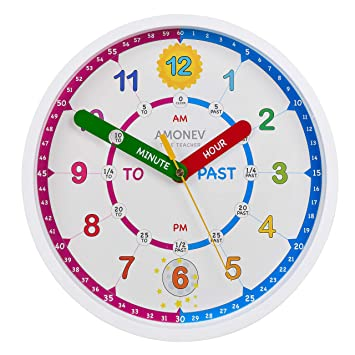 Amonev Reloj de Pared Time Teacher, enseña a los niños a Leer y Decir la Hora al Instante con Este Reloj de Movimiento silencioso, Morado, 28cm Diameter: ...
