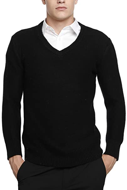 571e0bc1fe5 Liny Xin Men's Cashmere Knitted V-Neck Long Sleeve Loose Casual Winter Wool  Pullover Sweater Tops