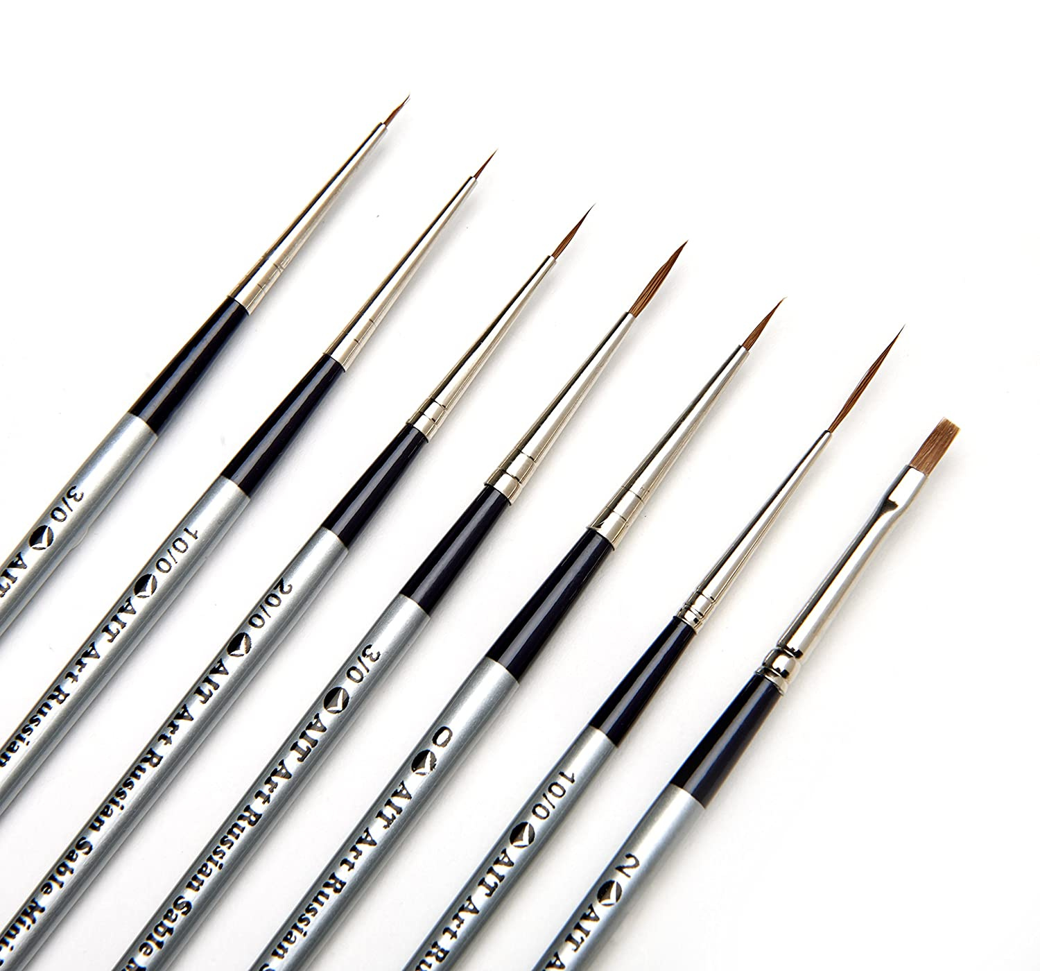 AIT Art Select Red Sable Detail Brush Set, 7 Pure Russian Sable Paint Brushes, Handmade in Germany for Crafting Exquisite Details Using Oil, Acrylic, or Watercolors AIT Products 1802