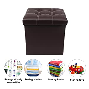 Livzing Foldable Organizer Stool Chest Storage Box with Lid – Multi-Functional Collapsible Ottoman Footrest Seat Footstool Faux Leather