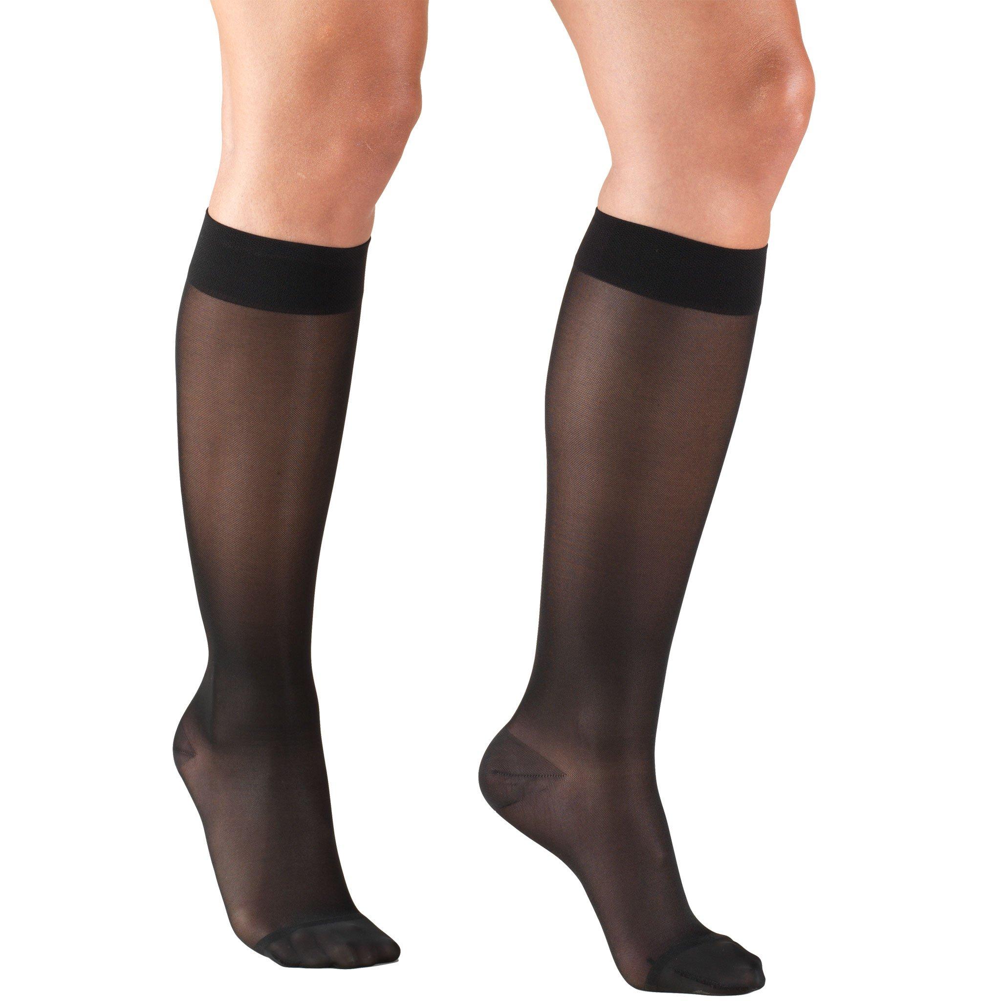 Truform Compression Stockings, 15-20 mmHg, Sheer, Knee High, Black, Medium