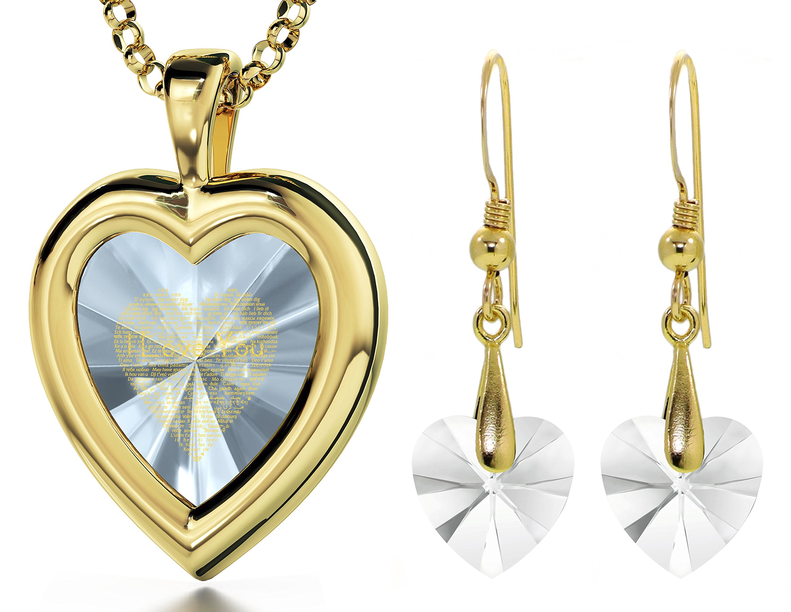 Gold Plated Clear Heart Jewelry Set I Love You Necklace 120 Languages CZ Inscribed and Crystal Earrings by Nano Jewelry