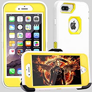 FOGEEK iPhone 8 Plus Case,iPhone 7 Plus Case,iPhone 6 Plus Case, [Dust-Proof] Belt-Clip Heavy Duty Kickstand Cover[Shockproof](White/Yellow)