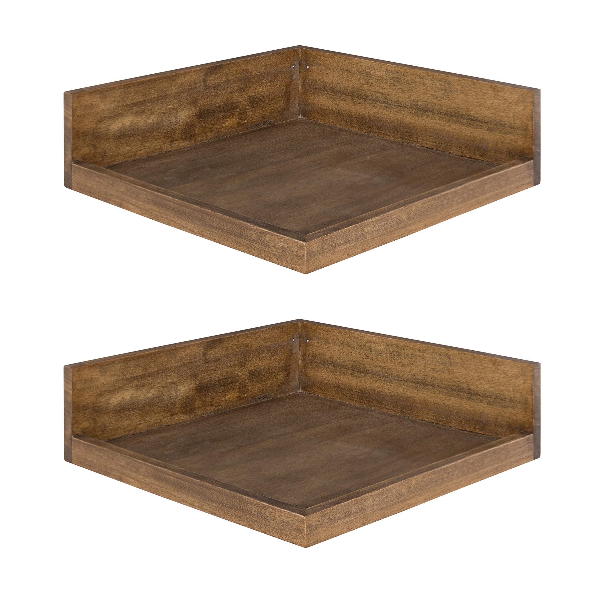 Kate and Laurel Levie Modern 2 Piece Set Floating Corner Wood Wall Shelves with Picture Frame Holder Ledge, 12 Inches Wide x 12 Inches Deep, Rustic Brown by Kate and Laurel