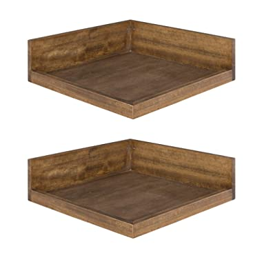 Kate and Laurel Levie Modern 2 Piece Set Floating Corner Wood Wall Shelves with Picture Frame Holder Ledge, 12 Inches Wide x 12 Inches Deep, Rustic Brown