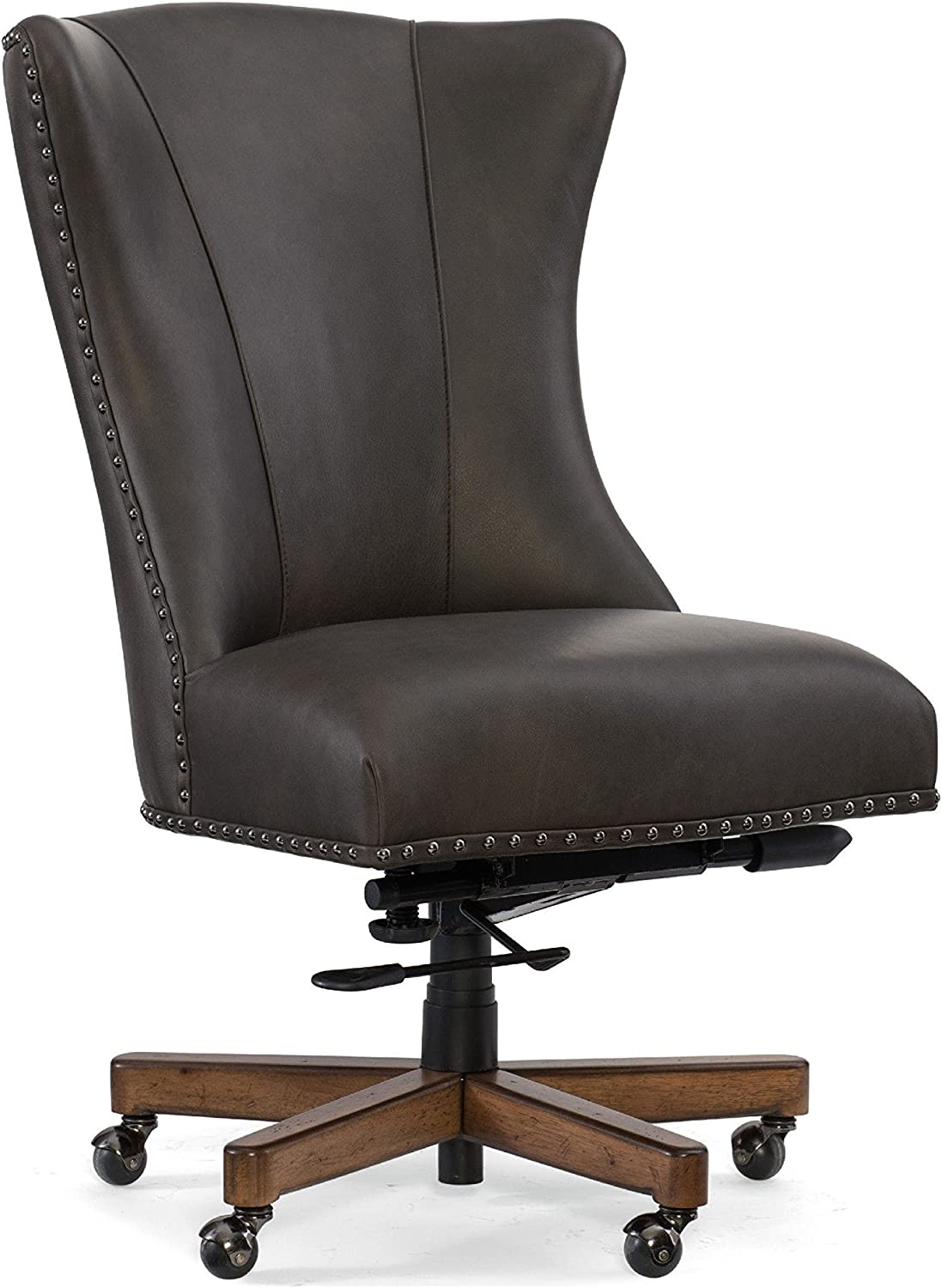 Shop Queen Anne Desk Chair Set Free Shipping Today >> Hooker Furniture Lynn Leather Home Office Chair In Gray