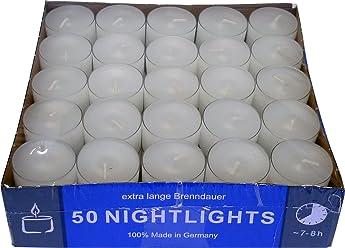 d23b98f81e3b19 NightLights - 50 candeline a lunga durata (fino a 8 ore) in custodia  trasparente