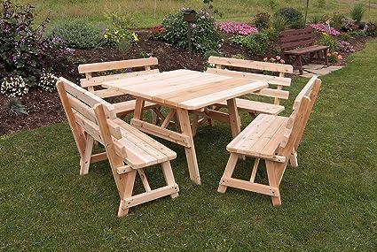 Amazoncom Cedar Square Picnic Table With Backed Benches - Square picnic table with benches