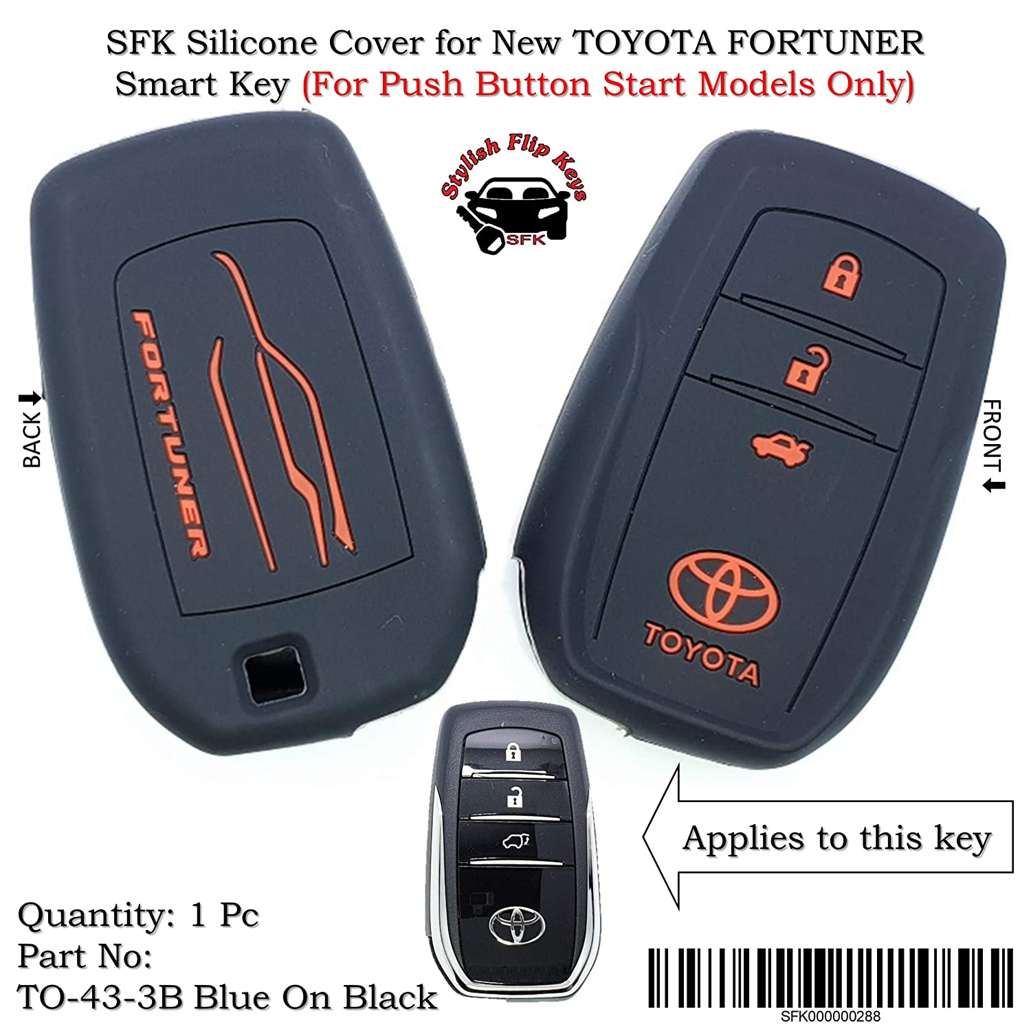 Sfk Silicone Key Cover For New Toyota Fortuner Push Button Kijang Innova 24 G A T Booking Fee Smart Only Car Motorbike