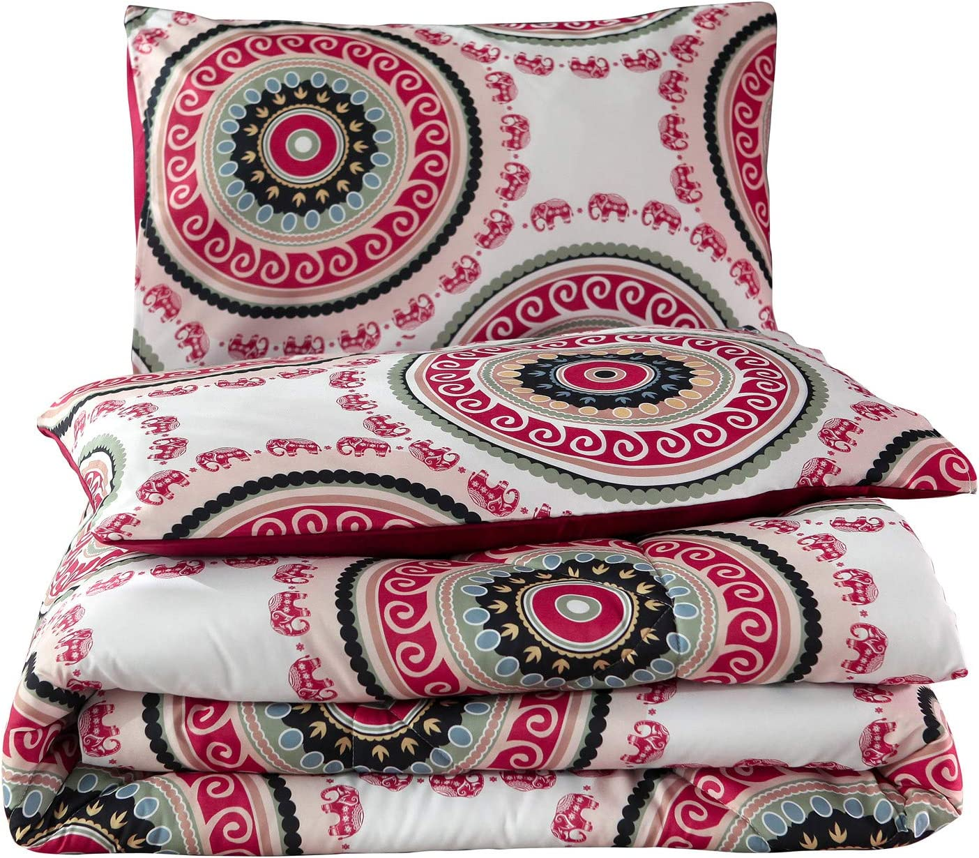 Meeting Story 3Pcs Microfiber Mandala Chic Boho Bohemian Sytle Circles Elephant Pattern Bedding Comforter Bedspread Quilt Sets (Red, Queen)