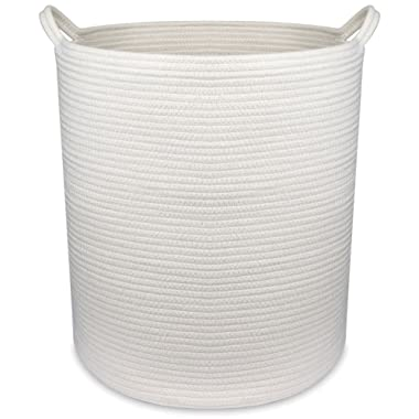 18  x 16  Extra Large Storage Baskets Cotton Rope Woven Nursery Bins,off white (XL)