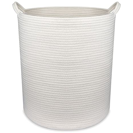 Cotton Basket Large Storage Basket Decorative Blanket Cotton Rope Woven Nursery