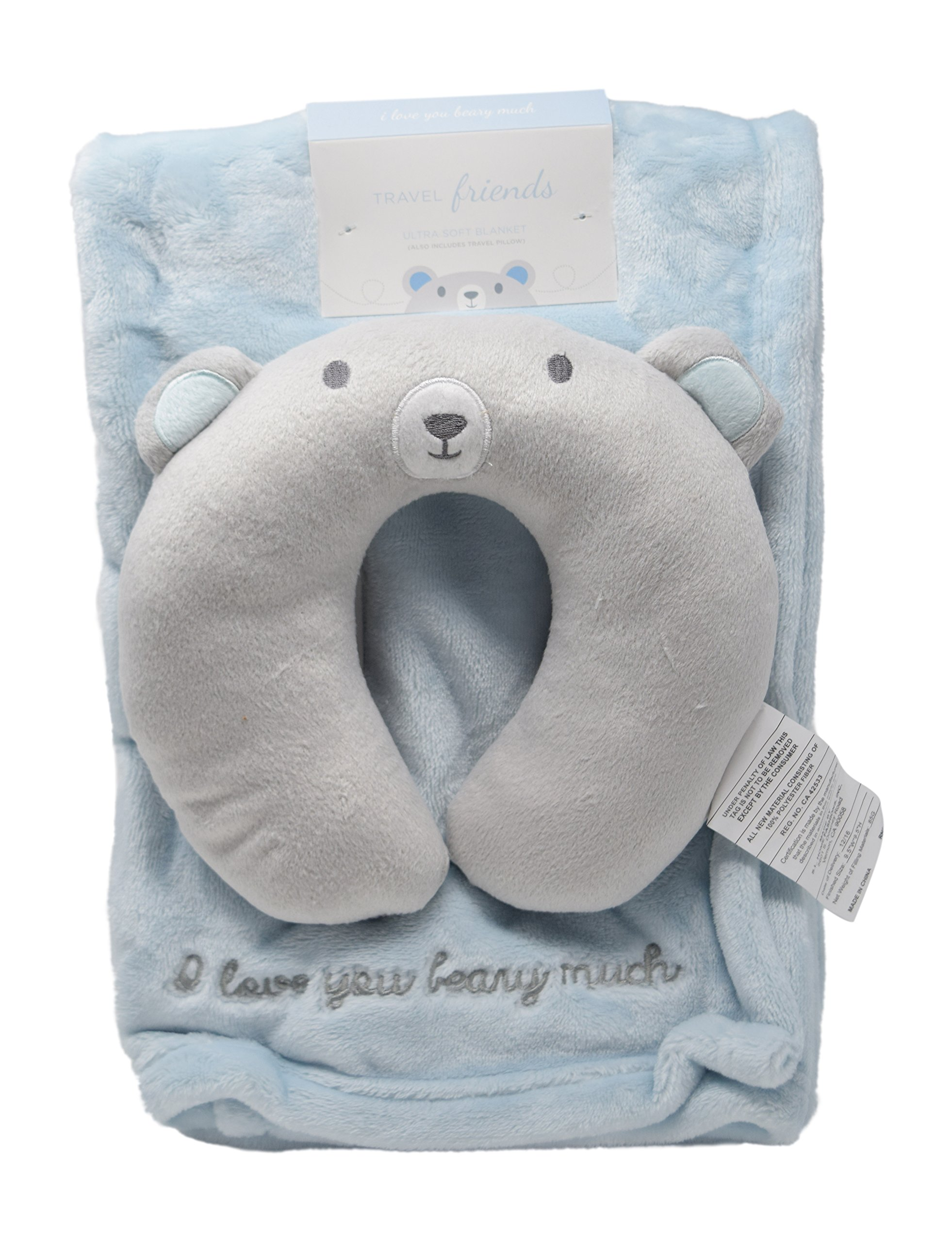 Minky Cozy Baby Blanket with Travel Animal Face U-Pillow Unisex Options Baby Swaddling Receiving Stroller Blanket (Blue Bear)