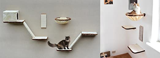 Gatos de pared de escalada 12 piezas con escaleras, Cueva y superficies de descanso, bonito gato Mundo en beige, marrón,: Amazon.es: Productos para mascotas