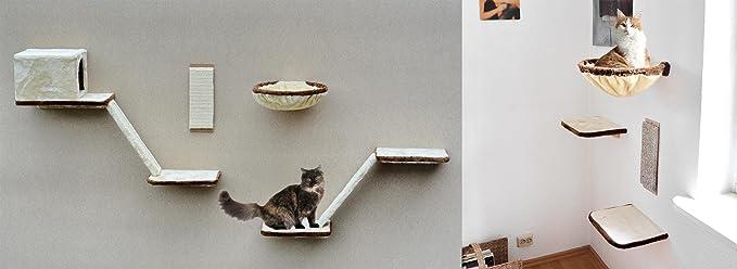 Katzen-Kletterwand 12-teilig mit Treppe, Höhle und Liegeflächen, schöne Katzenwelt in beige, braun,