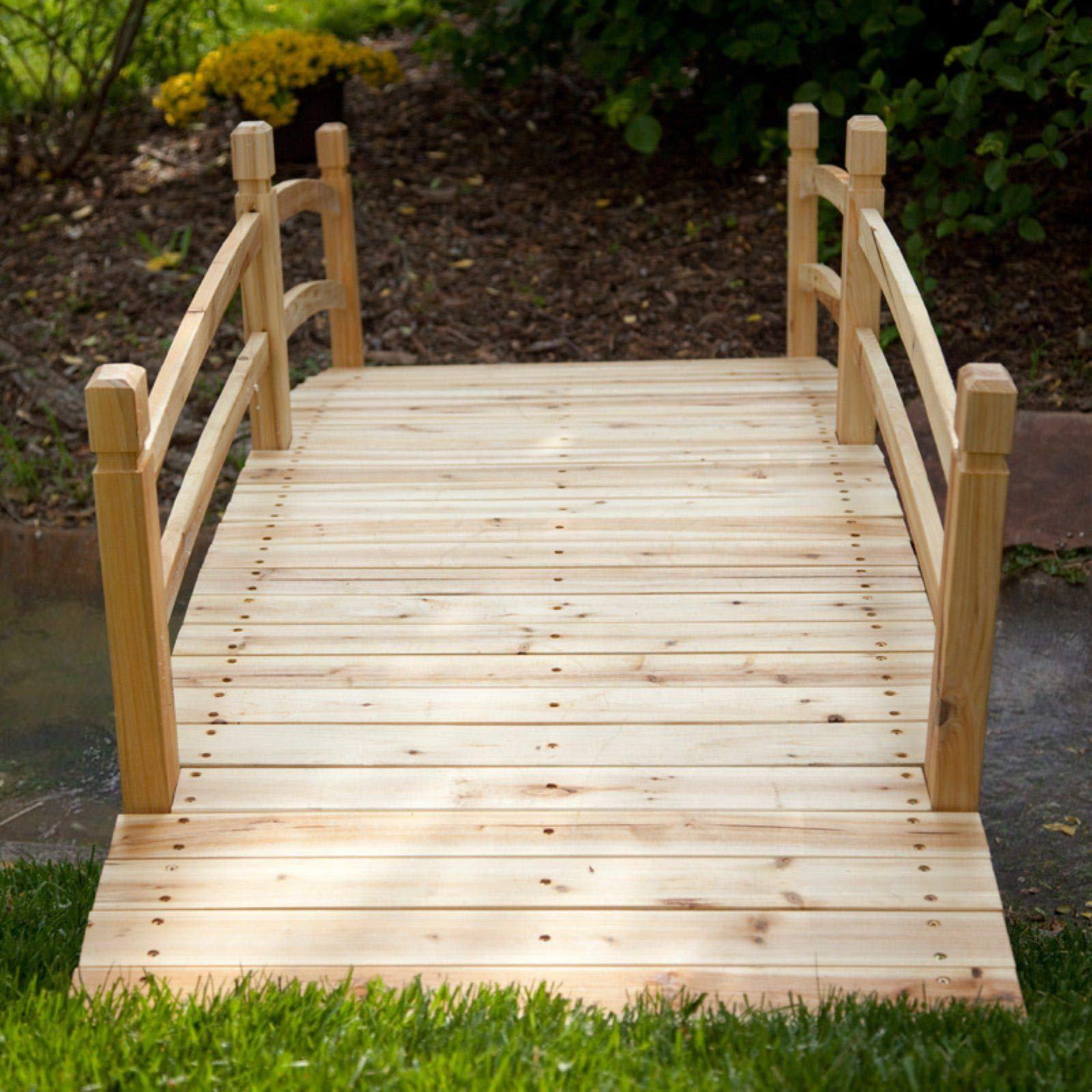 Home Improvements Natural Finish Wood 8 Foot Garden Bridge Outdoor Yard Lawn Landscaping Decor by Home Improvements (Image #4)