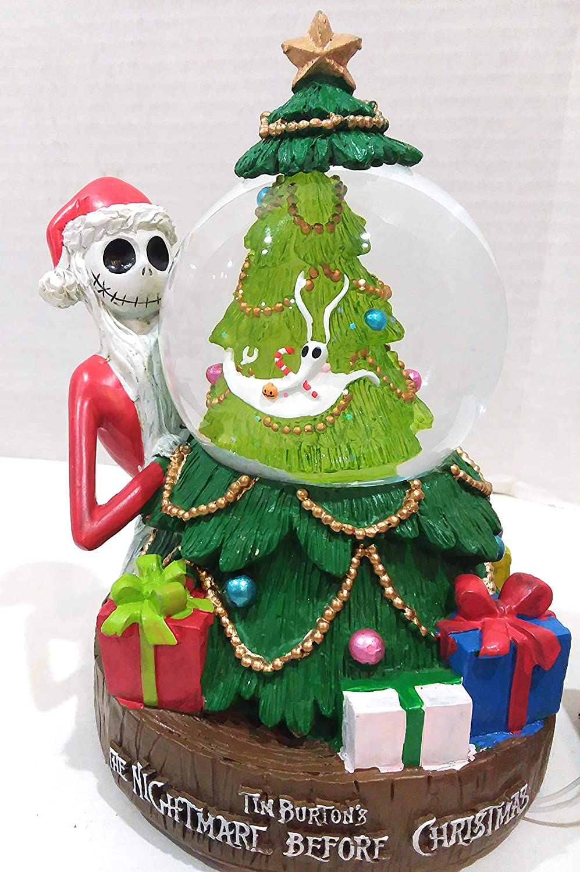 Nightmare Before Christmas Jack Skellington On A Sled Sleigh Water Globe Snow Globe Musical Light up