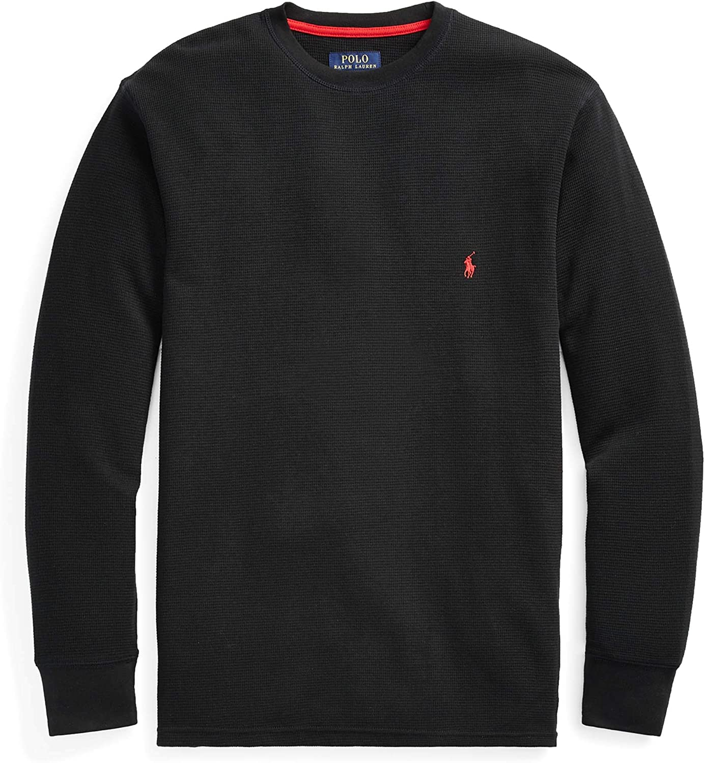 Men/'s $50 POLO-RALPH LAUREN Black Pullover Jersey Hooded T-Shirt XL red Pony