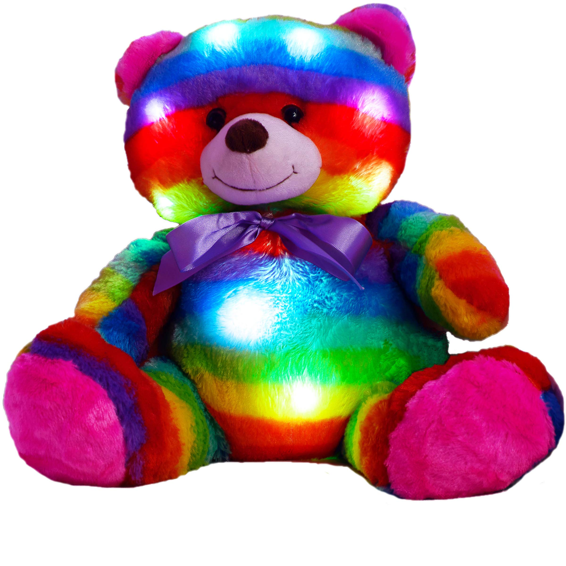 The Noodley LED Light Up Multi Color Teddy Bear 16'' with Timer Colorful Stuffed Animal Night Light Kids Gift