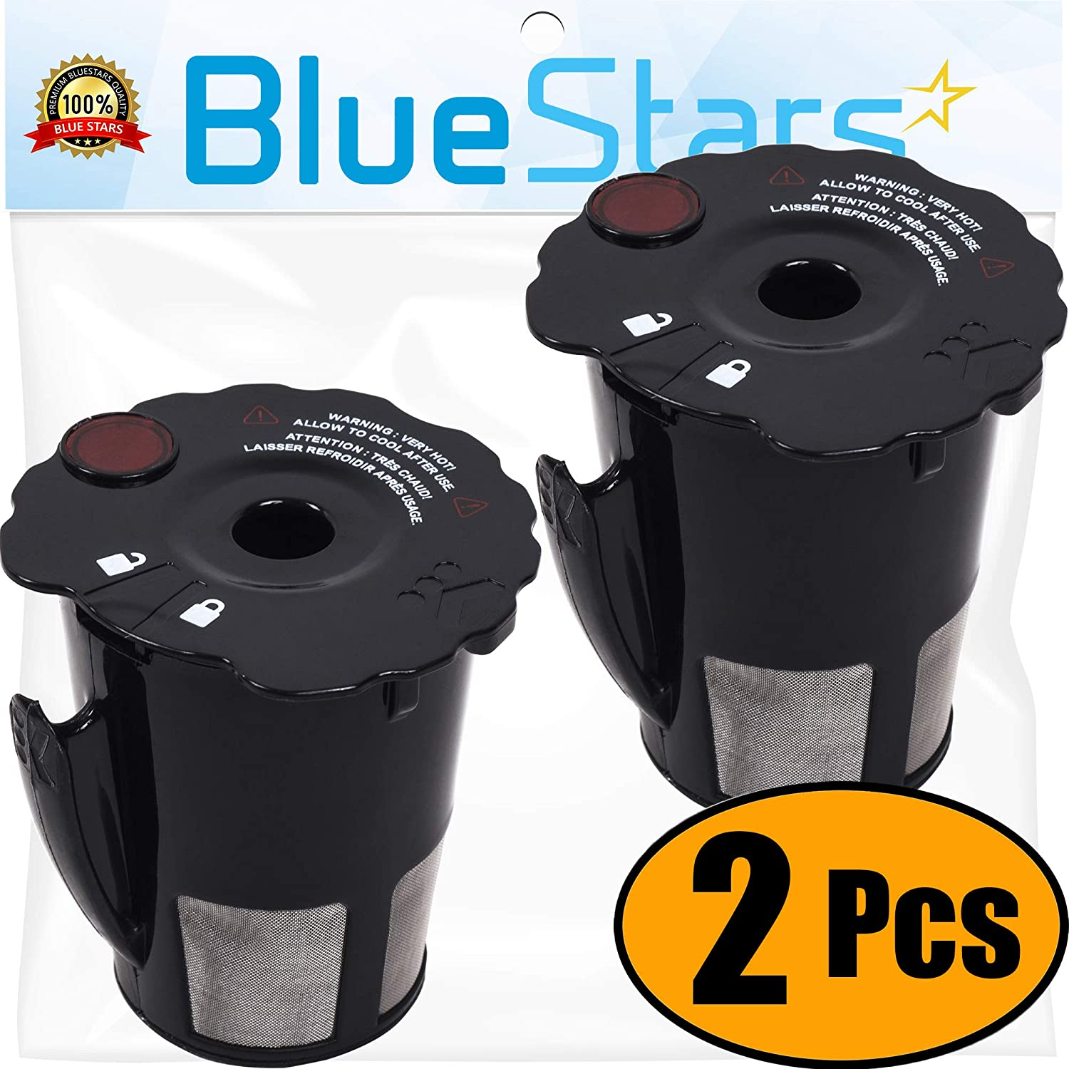 119367 Reusable Coffee Filter Replacement Part by Blue Stars – Exact Fit For Keurig K-cup 2.0 Series Brewers - Model K200 K250 K300 K350 K400 K450 K460 K475 K460 K500 K550 K560 K575 - PACK OF 2