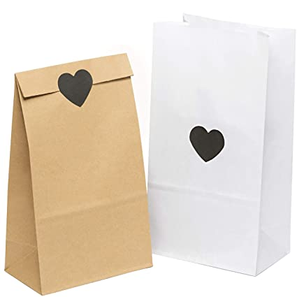 100 piezas Bolsas de Papel Regalo con ❤ pegatinas 14 x 26 x 8 cm - Bolsa Biodegradable Regalos Comunión para Invitados o para Guardar Comida, Semillas ...