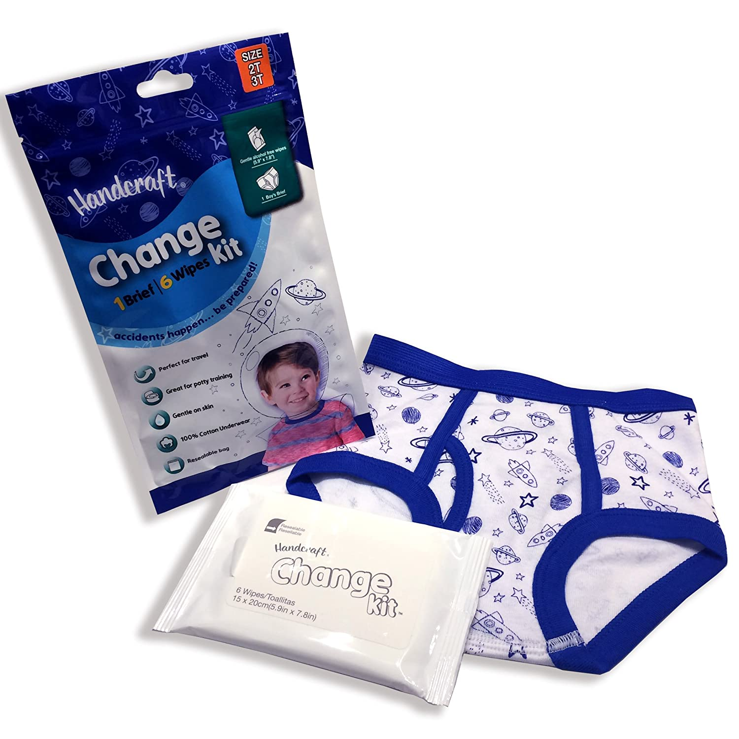 Amazon.com: Handcraft Kids Toddler 3-Pack Emergency Kit with Underwear + Wipes for Boy Girl: Clothing