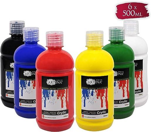 Artina Crylic Set de 6 Colores acrílicos - Calidad óptima - 500 ml - Ideal para Profesionales y Aficionados: Amazon.es: Hogar