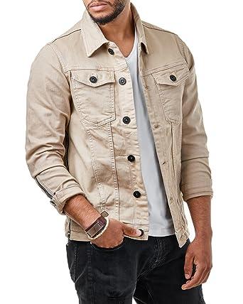 info for 102f2 deffc EightyFive Herren Denim Jeans Jacke Basic Zipper Slim Fit Khaki Beige EF3132
