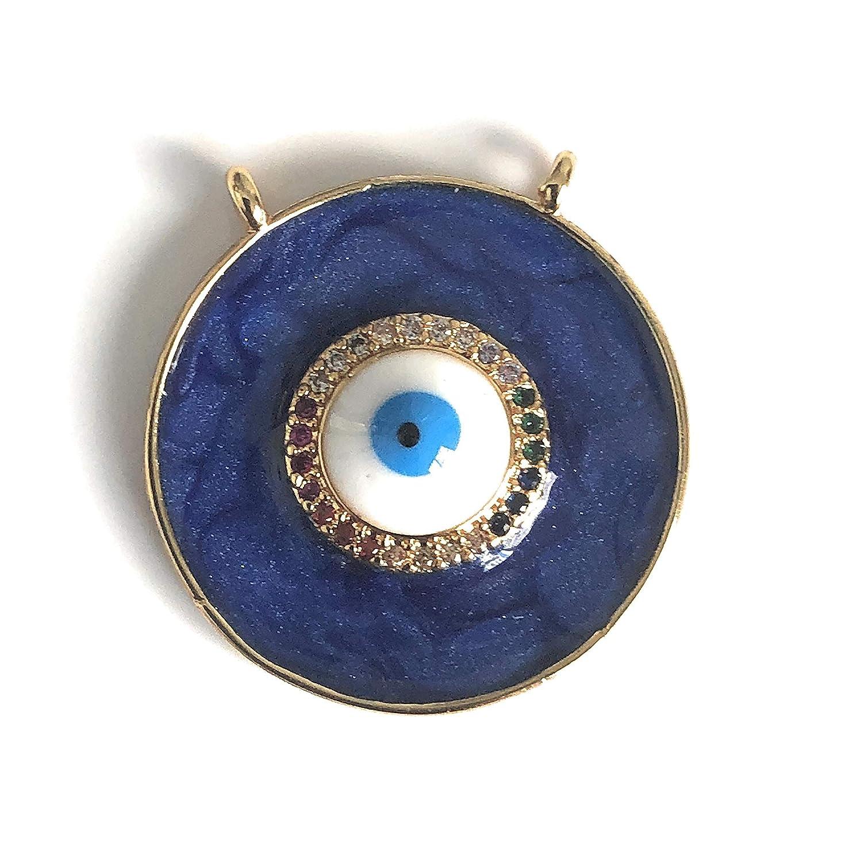 Evil Eye Enamel Charm Necklace Mal de Ojo Pendant 18 Inches Chain