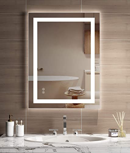 JORYOO LED Wall-Mounted Mirrors Bathroom Make Up Mirror with Anti-Fog Function Dimmable Touch Switch 3000-6000k Warm White Daylight Color Temperature Changing – 36 x 28