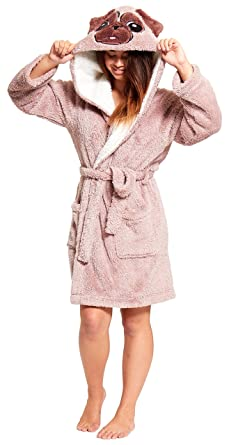 828662ff5 Unbranded Ladies Luxury Flannel Fleece Christmas Dressing Gown Hooded Polka  Grey Beige Novelty Reindeer Or Penguin Size 8 10 12 14 16 18 20 22: ...