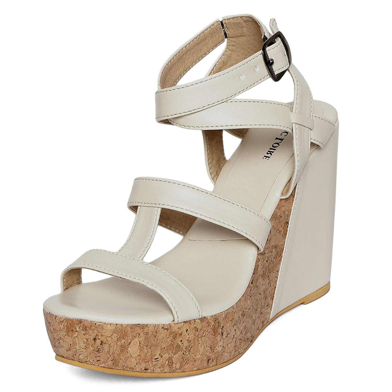 Buy Marc Loire Women Wedge Heels Girls Fashion Sandals Open Toe Wedge Sandals Buckle Type Platform Heels Synthetic Cream Size Euro40 Uk Ind7 Ml0010662540 At Amazon In