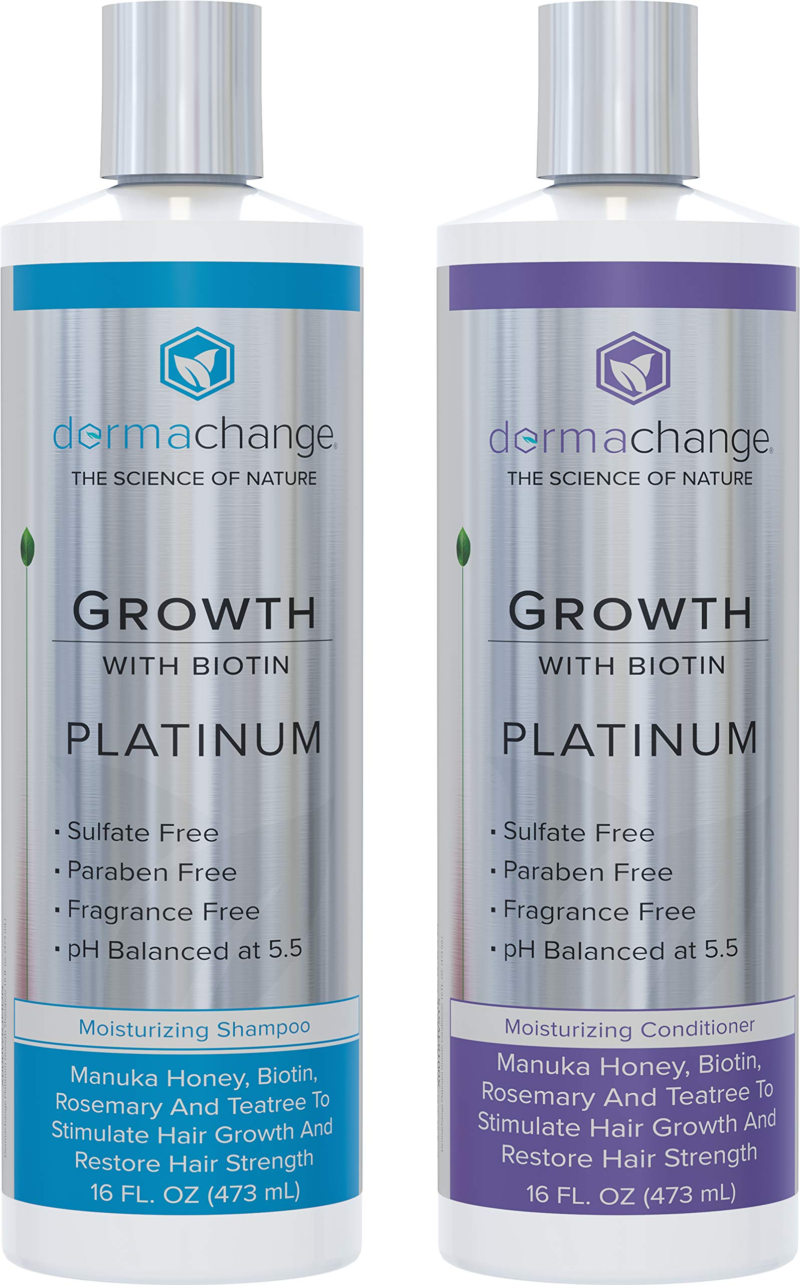 Hair Growth Organic Shampoo and Conditioner Set - With Biotin and Argan Oil - Supports Regrowth and Prevents Hair Loss - Dry Damaged and Color-Treated Hair - Sulfate and Paraben Free (16oz) by DermaChange
