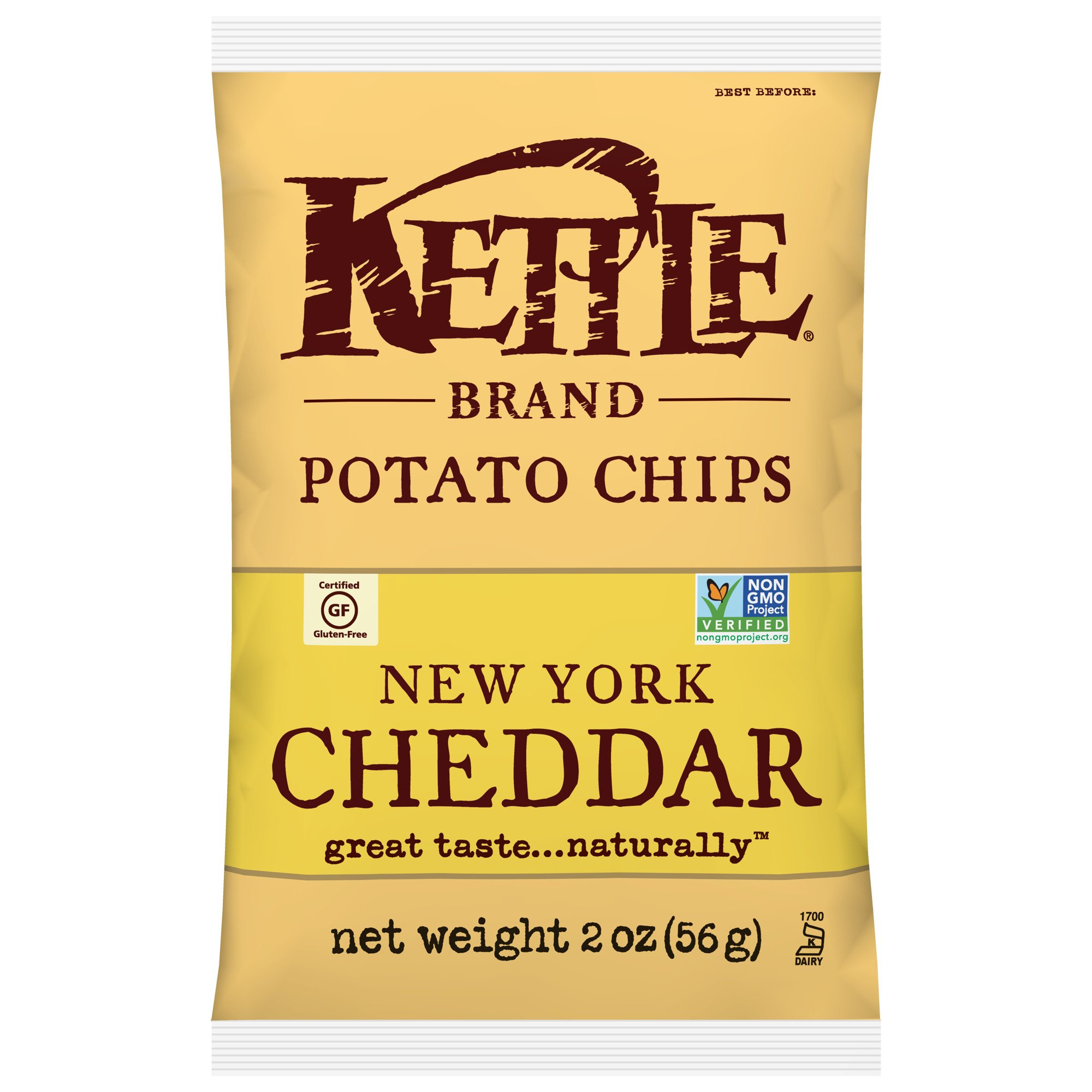 Kettle Brand Potato Chips, New York Cheddar, 2 Ounce Bags (Pack of 24)
