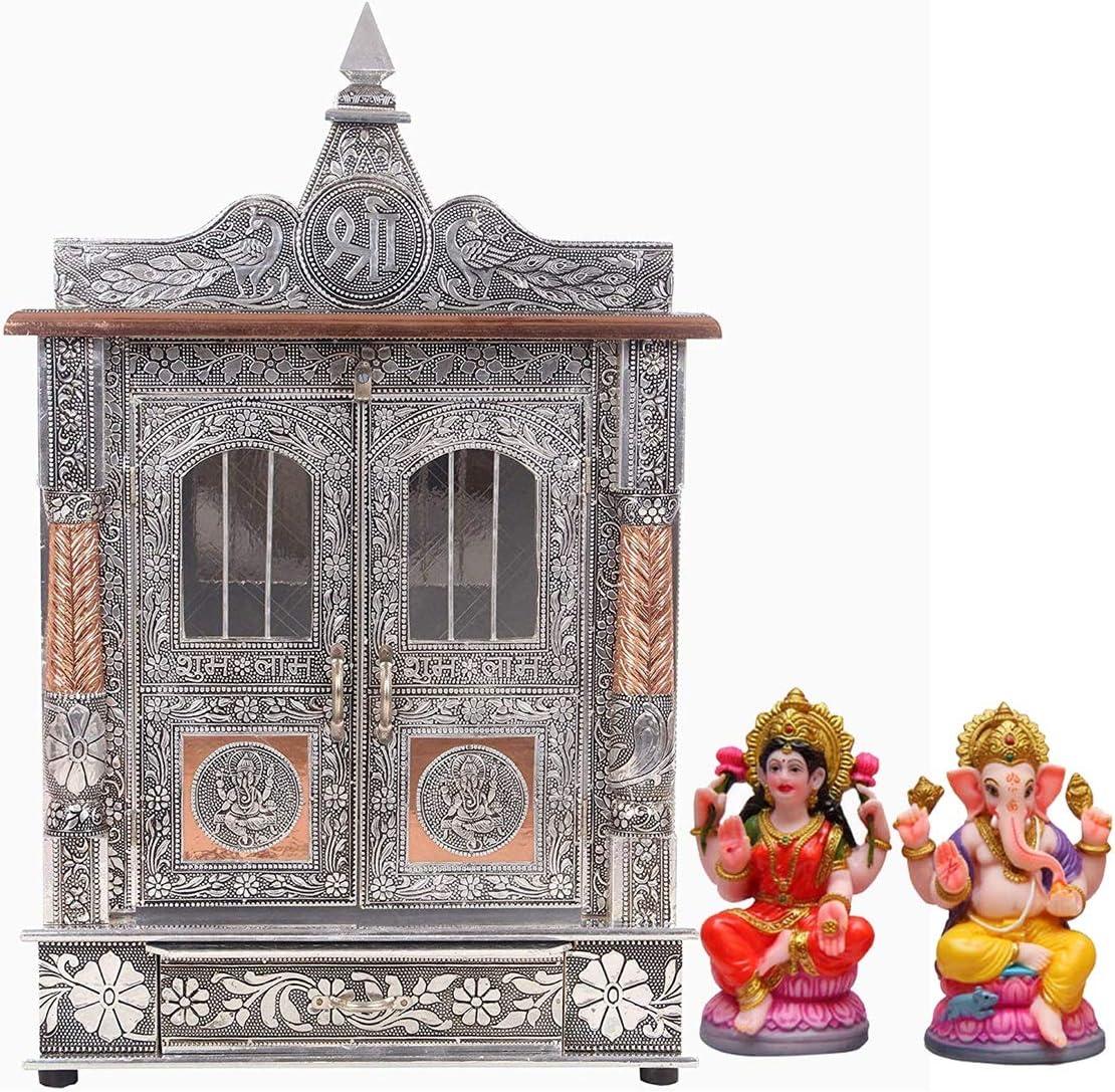 "Maa Chandi Temple/Home Temple/Oxidized Copper Temple/Pooja Mandir/Mandapam 7"" W X 15"" L"