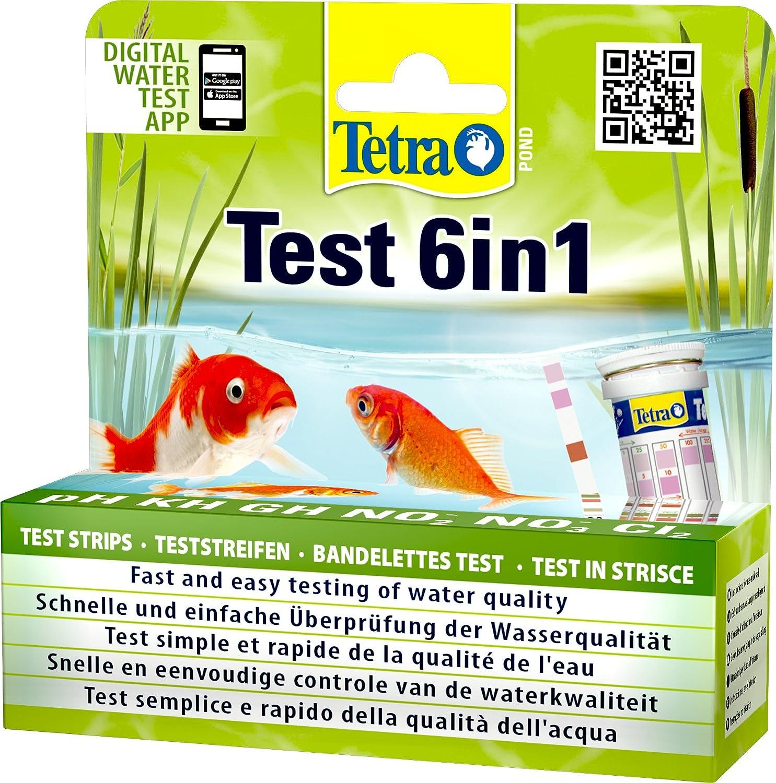 TETRA Pond Test 6in1 - Bandelettes de Tests de l'Eau de Bassin de Jardin - 25 Bandelettes T6912