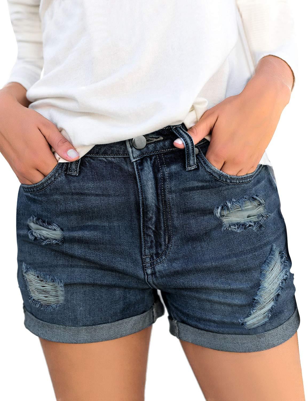 HOCAIES Womens Juniors Mid Rise Jean Shorts Folded Hem Denim Shorts for Women