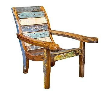 Indien-Haus Tumbona Relax sillón de Barco Antiguo Madera con ...