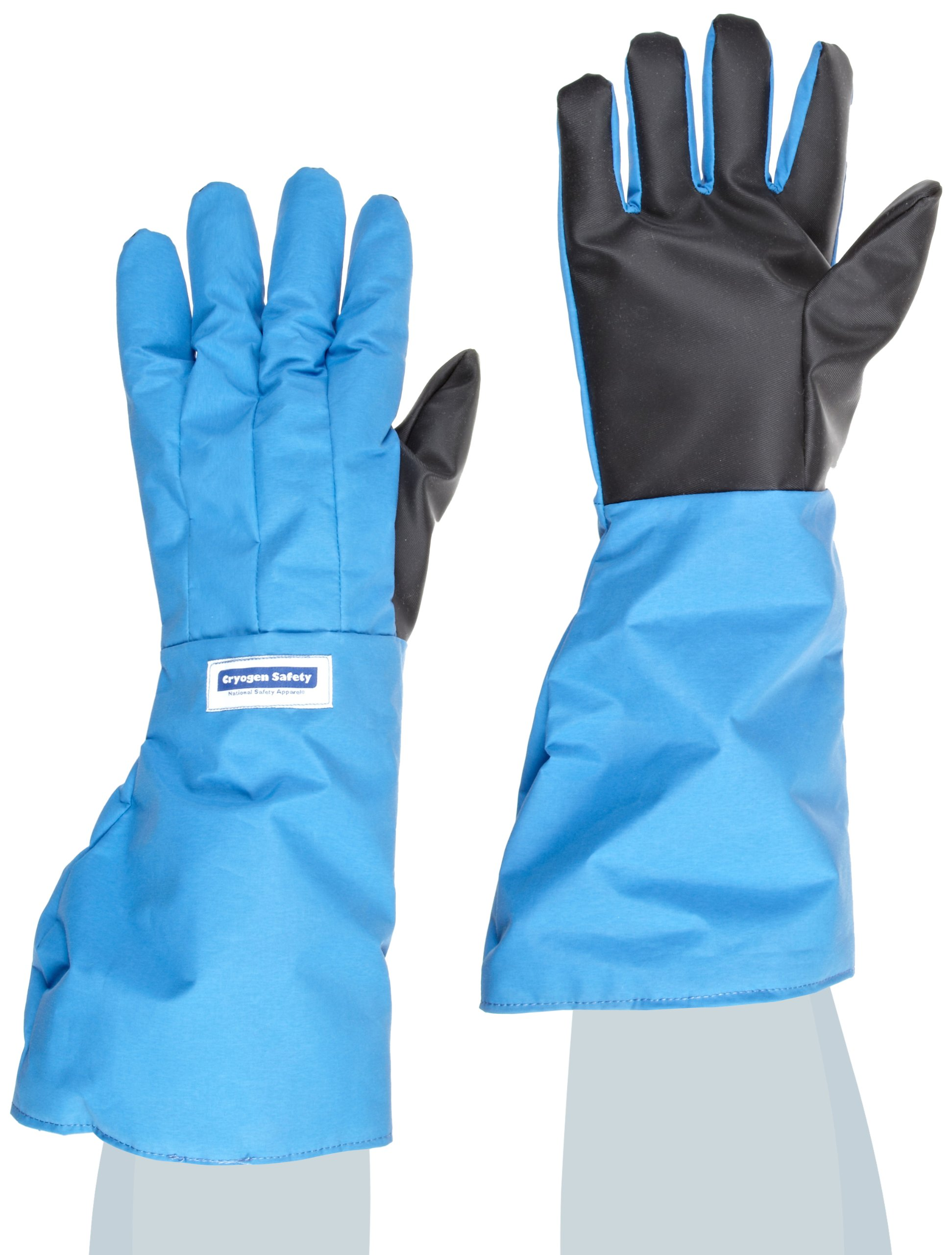 National Safety Apparel G99CRSGPLGEL Nylon Taslan and PTFE Elbow Waterproof Safety Glove with SaferGrip Palm, Cryogenic, 17'' - 18'' Length, Large, Blue