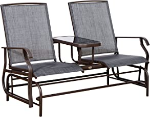 Charmant Outsunny 2 Person Outdoor Mesh Fabric Patio Double Glider Chair W/Center  Table