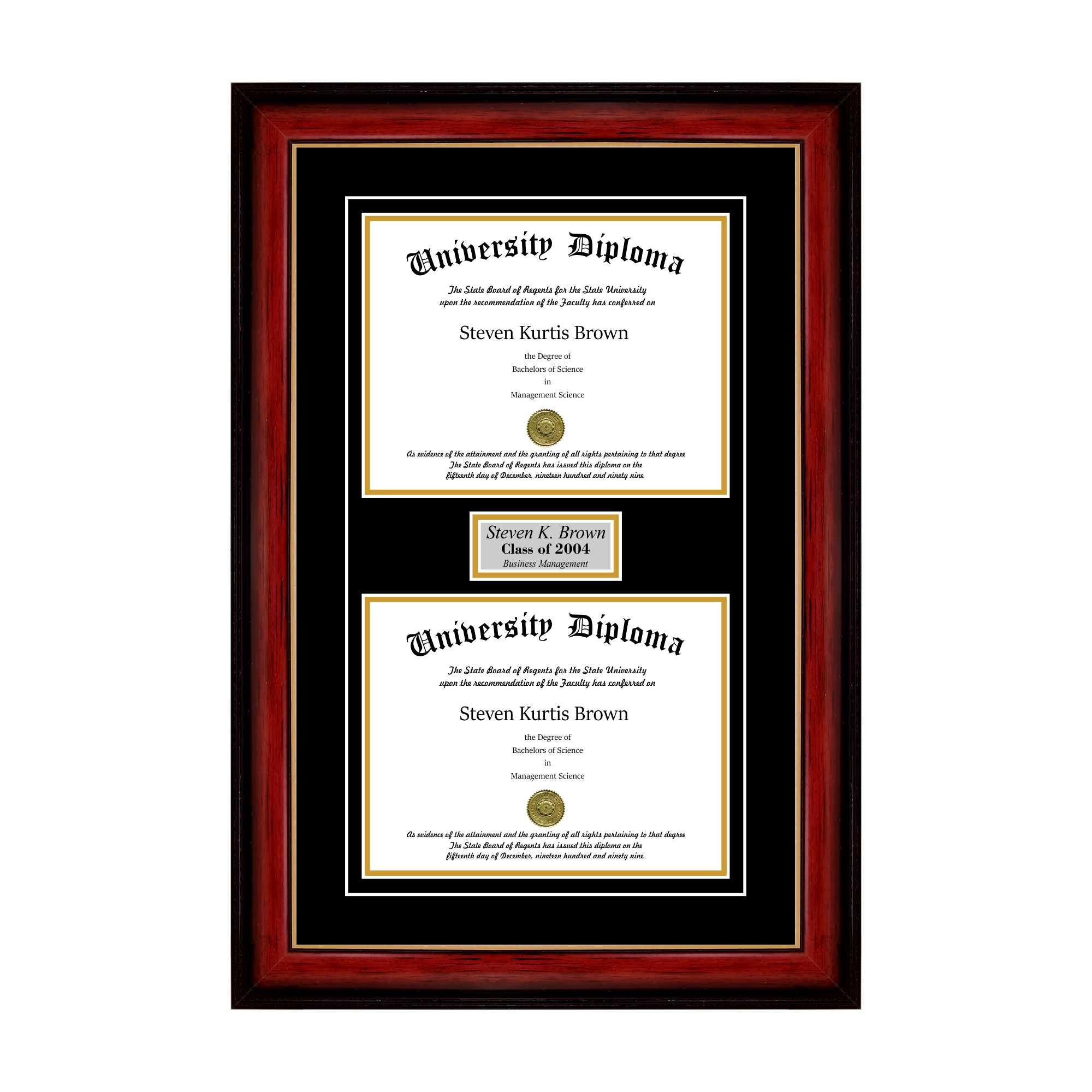 Personalized Double Diploma Frame with Double Matting for 8.5'' x 11'' Tall Diploma with Mahogany with Gold Lip 2'' Frame