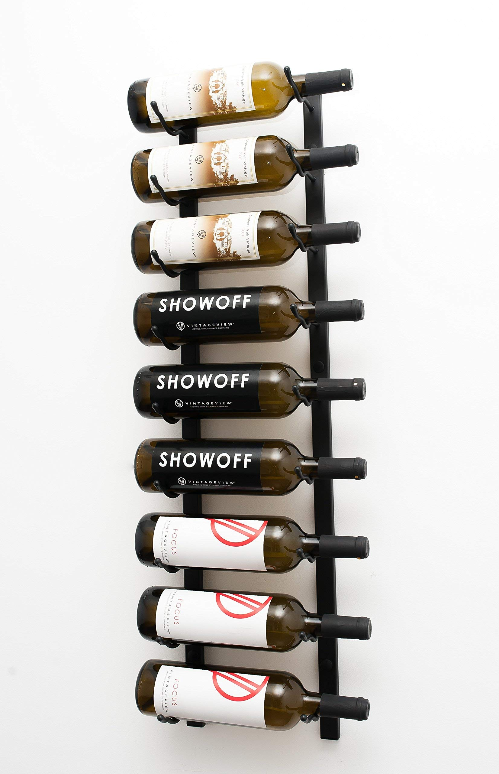 VintageView Wall Series - 9 Bottle Wall Mounted Wine Rack (Satin Black) Stylish Modern Wine Storage with Label Forward Design (Renewed) by VintageView