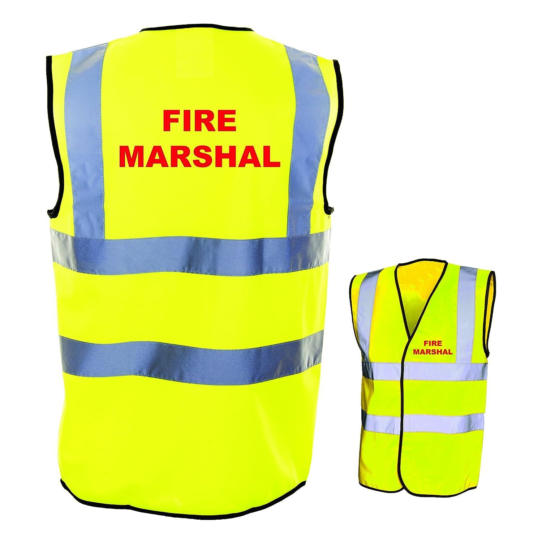 Medium, Yellow FIRE MARSHAL HI VIZ VIS WAISTCOAT VEST TABARD JACKET MARSHAL SAFETY WORK WEAR S-4XL